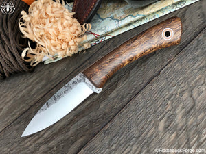 Fiddleback Forge Bushboot - Quarter Sawn Curly Oak - Fiddleback Forge Handmade Knife