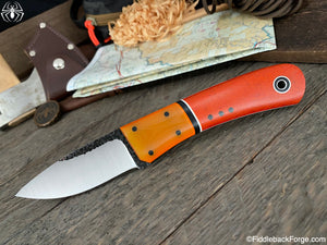 Fiddleback Forge Bushcraft Tasker - 8670 - Burnt Orange Micarta
