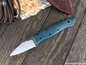 Fiddleback Forge Bushcraft Karda - Sapphire Burlap - Fiddleback Forge Handmade Knife