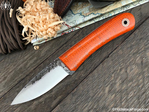Fiddleback Forge Bushcraft Tasker - Orange Burlatex - Fiddleback Forge Handmade Knife