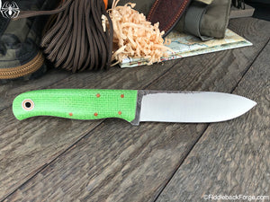 Fiddleback Forge Bushcrafter Sr. - Lime Burlatex - Fiddleback Forge Handmade Knife
