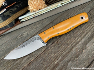Fiddleback Forge Bush Hermit - 80crv2 - Goldenrod Micarta