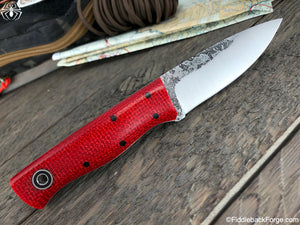 Fiddleback Forge Bushnub II - Scarlet Burlatex - Fiddleback Forge Handmade Knife