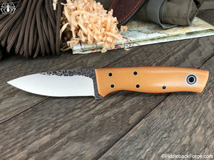 Fiddleback Forge Bushnub II - Bone Linen - Fiddleback Forge Handmade Knife