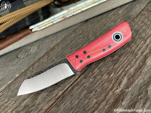 Fiddleback Forge Daimyo - Raspeberry Micarta - Fiddleback Forge Handmade Knife
