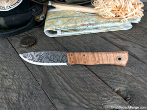 Fiddleback Forge Drop Point Renegade - Curly Maple - SCANDI