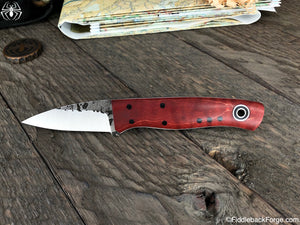 Fiddleback Forge ED Karda - Crimson Curly Maple - Fiddleback Forge Handmade Knife