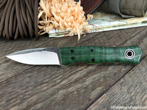 Fiddleback Forge Esquire - Emerald Curly Maple - Fiddleback Forge Handmade Knife