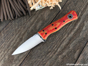 Fiddleback Forge Esquire - Red/Yellow Burlatex - Fiddleback Forge Handmade Knife