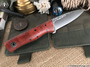 Fiddleback Forge Bear Cub - Dyed Curly Ash - Fiddleback Forge Handmade Knife