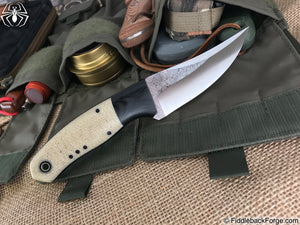 Fiddleback Forge Bourbon Street Skinner - Oatmeal Burlap - Fiddleback Forge Handmade Knife
