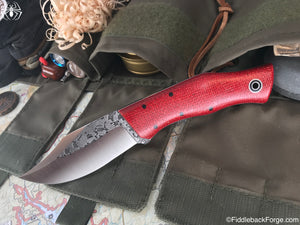 Fiddleback Forge Bullfrog Bowie - Cherry Bomb Burlap - Fiddleback Forge Handmade Knife