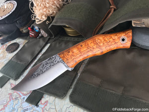 Fiddleback Forge Bullfrog Bowie - Quartersawn Curly Oak - Fiddleback Forge Handmade Knife