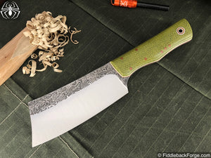 Fiddleback Forge Bushcraft Hatchet - Emerald Burlap