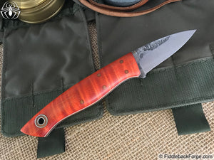 Fiddleback Forge Bushcraft Karda - Dyed Curly Maple - Fiddleback Forge Handmade Knife