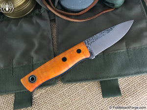 Fiddleback Forge Bushnub II - Orange Dyed Curly Maple - Fiddleback Forge Handmade Knife