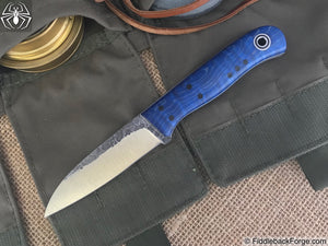 Fiddleback Forge Bushraptor - Blue Dyed Curly Maple - Trinity Pinout - Fiddleback Forge Handmade Knife