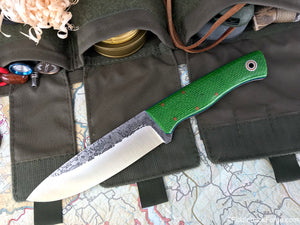 Fiddleback Forge Duke - Lime Burlap - Fiddleback Forge Handmade Knife