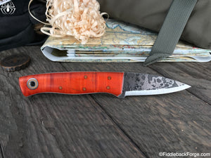Fiddleback Forge ED Karda - Orange Curly Maple - SCANDI - Fiddleback Forge Handmade Knife