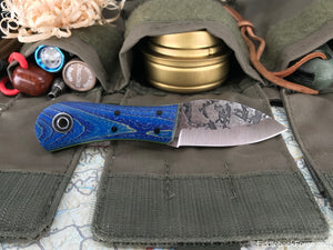 Fiddleback Forge Gnome - Blue Dyed Curly Ash - Fiddleback Forge Handmade Knife