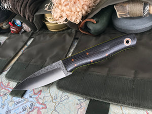 Fiddleback Forge Handyman - Charcoal Burlatex - Fiddleback Forge Handmade Knife
