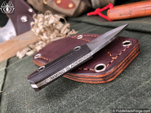 Cumming Bladeworks Necker - Black/Brown Canvas Micarta