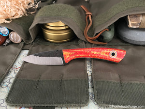 Fiddleback Forge Old School Karda - Red/Yellow Burlatex - Fiddleback Forge Handmade Knife