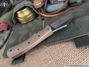 "Dragonfly Blade Works ""Olde Home Place"" Skinner - Tan G-10 - Dragonfly Blade Works Handmade Knife"