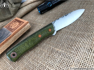 Fiddleback Forge Pack Rat - Evergreen Burlap - Fiddleback Forge Handmade Knife