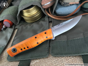Fiddleback Forge Patch - Orange Dyed Curly Maple - Fiddleback Forge Handmade Knife