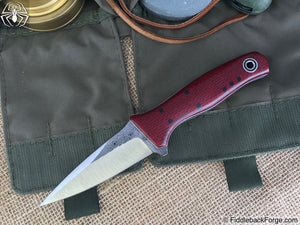 Fiddleback Forge Wasp - Ruby Burlap - Fiddleback Forge Handmade Knife