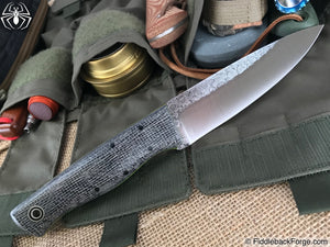 Fiddleback Forge Woodsman - Oreo Burlap - Fiddleback Forge Handmade Knife
