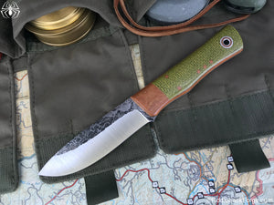 Fiddleback Forge Drop Point Renegade - Emerald Burlap - Fiddleback Forge Handmade Knife