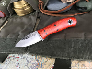 Fiddleback Forge Runt - Tangerine Burlap - Fiddleback Forge Handmade Knife