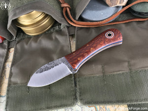 Fiddleback Forge Stubby Muk - Lacewood - Fiddleback Forge Handmade Knife