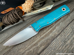 Fiddleback Forge Full Finger - Turquoise Burlap - Fiddleback Forge Handmade Knife