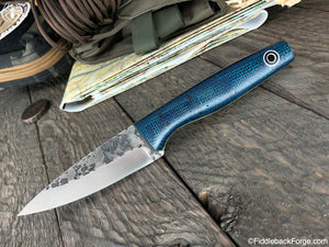 Fiddleback Forge Gaucho - Green/Blue Burlatex - Fiddleback Forge Handmade Knife