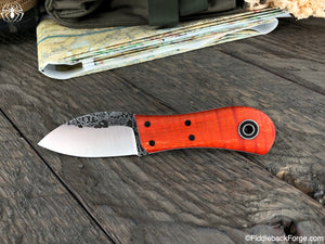 Fiddleback Forge Gnome - Burnt Orange Curly Maple - Fiddleback Forge Handmade Knife