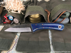 Fiddleback Forge Reaper - Blue/Green Burlatex - Fiddleback Forge Handmade Knife