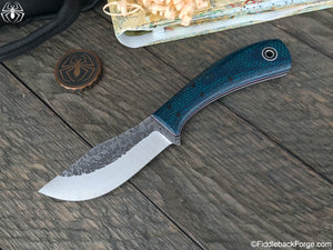 Fiddleback Forge Kismet Practical Hunter (KPH) - Blue/Green Burlatex - Fiddleback Forge Handmade Knife