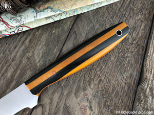 J.B. Knifeworks Filet Knife - Black & Natural Cross Cut Micarta Stack - J.B. Knifeworks Handmade Knife