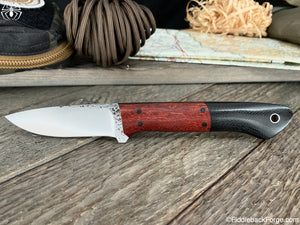 J.B. Knifeworks Classic Drop Point - Black Canvas - Bloodwood Bolsters - J.B. Knifeworks Handmade Knife