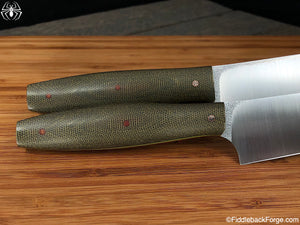 J.B. Knifeworks Culinary Set of Santoku's - OD Canvas Micarta