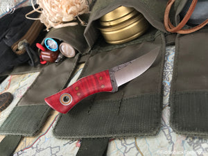 Fiddleback Forge Mosquito - Red Curly Maple - Fiddleback Forge Handmade Knife
