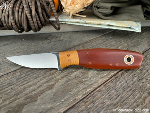 Fiddleback Forge Paring Knife - S35VN - Cross Cut Natural Paper Micarta - Fiddleback Forge Handmade Knife