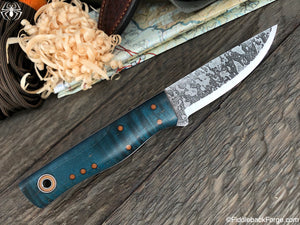 Fiddleback Forge Patch - Aqua Blue Curly Maple - SCANDI