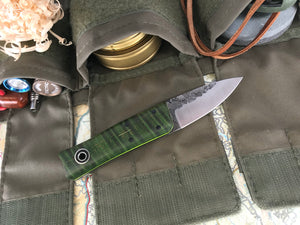 Fiddleback Forge Sgian Dubh - Green Dyed Curly Maple - Fiddleback Forge Handmade Knife