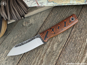 Fiddleback Forge Emperor - Orange/Black Dewcarta - Fiddleback Forge Handmade Knife