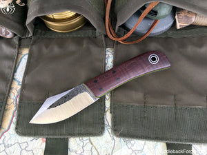 Fiddleback Forge Sylvrfalcen - Deep Brown Dyed Curly Maple - Fiddleback Forge Handmade Knife