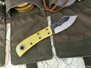 Fiddleback Forge Sylvrfalcen - Lemon Drop Jade G-10 - Fiddleback Forge Handmade Knife